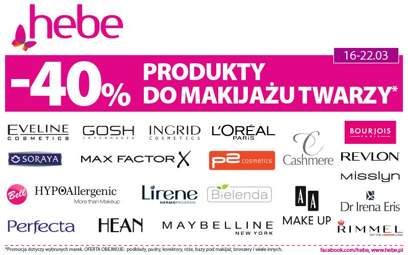 Produkty do makijażu twarzy -40% w hebe
