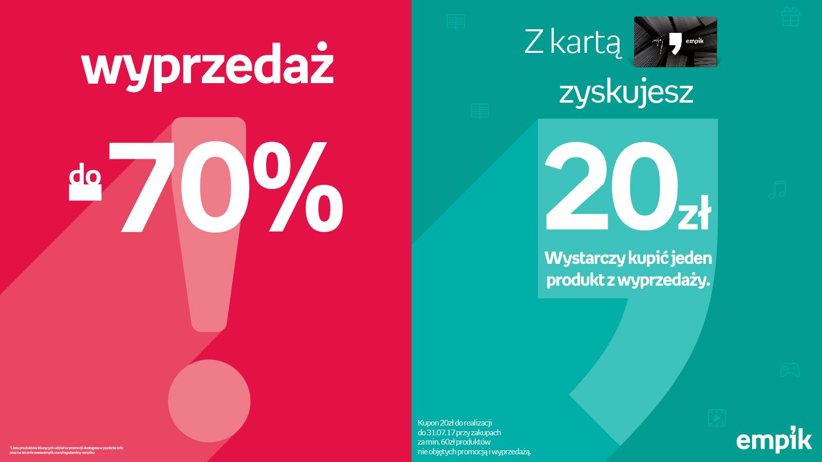 Wyprzedaż! Produkty tańsze do 70%!