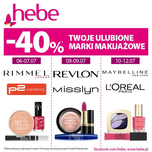 -40% na kolejne marki do makijażu, co dwa dni w hebe