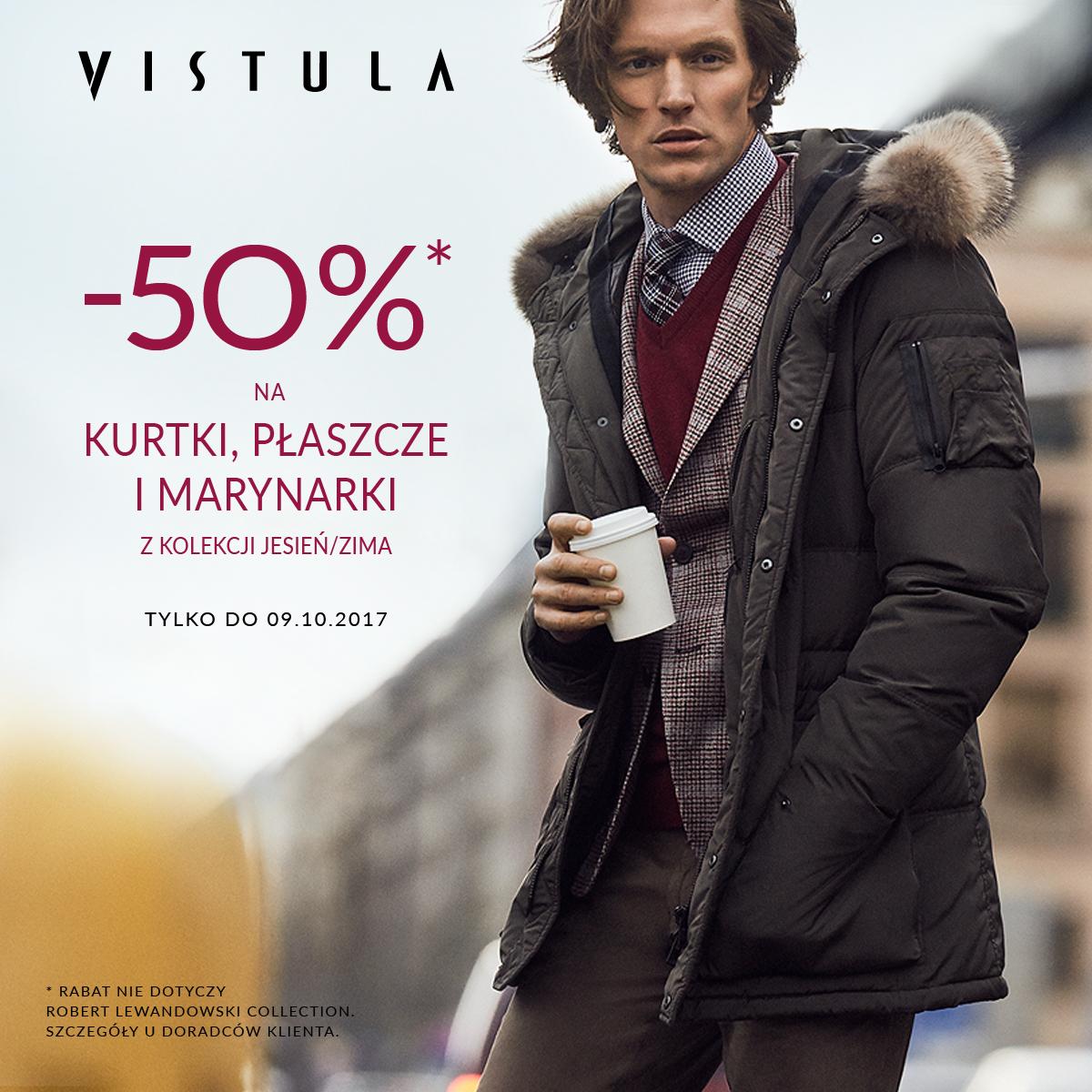 Tylko teraz w salonie Vistula -50% rabatu na kurtki, płaszcze i marynarki!
