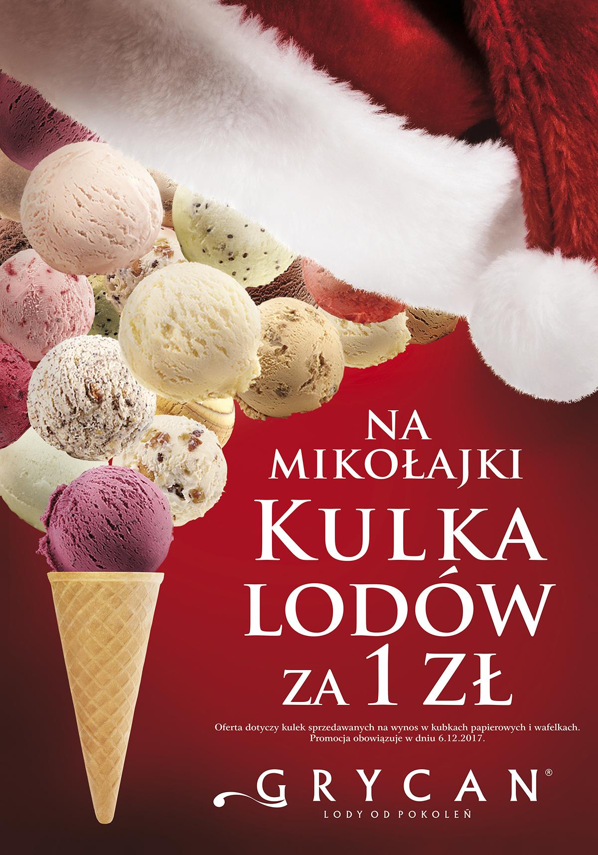 W dniu 6 grudnia zapraszamy do lodziarnio-kawiarni GRYCAN LODY OD POKOLEŃ na kulkę lodów za złotówkę.