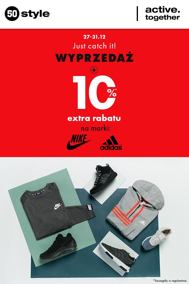 50 style | Wyprzedaż + 10% extra rabatu na marki Nike i adidas!