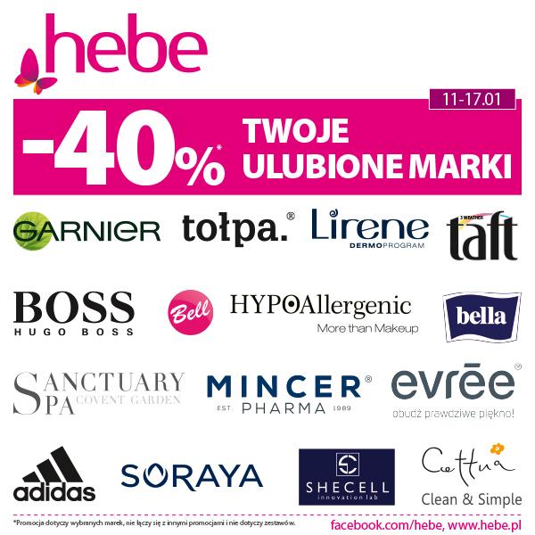 14 marek + rabat -40% = idealna okazja, aby odwiedzić Hebe!