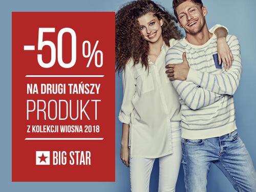 -50% na drugi tańszy produkt wiosennej linii kolekcji SS18 w Big Star