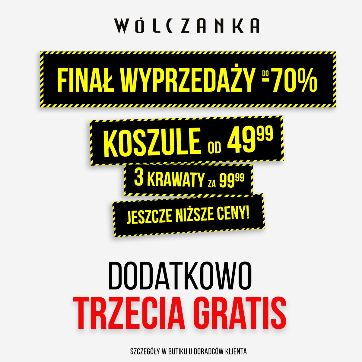 Finał wyprzedaży do -70% w butiku WÓLCZANKA!