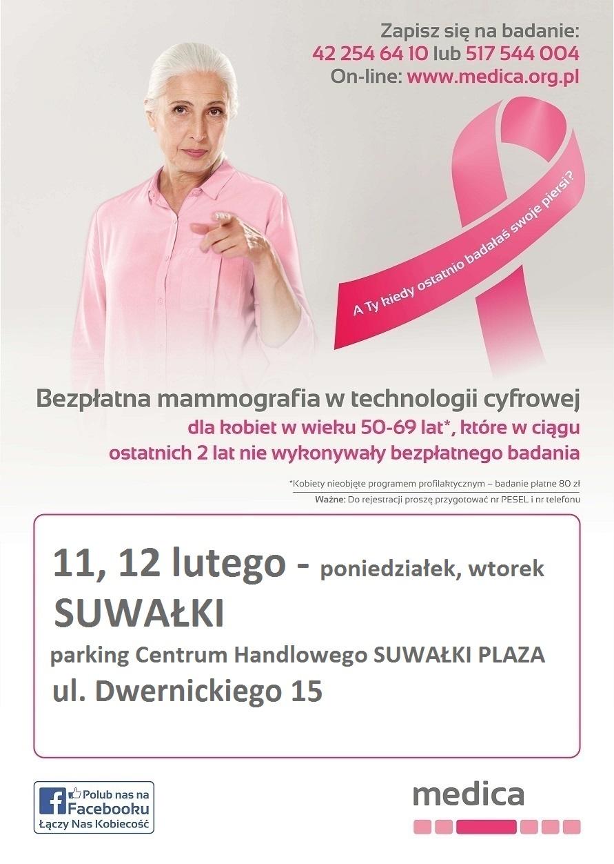 Bezpłatna mammografia przed CH Suwałki Plaza.